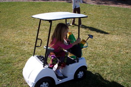The kids had a blast in Emma's little golf cart