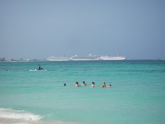 Three Carnival cruise ships all lined up