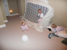 Kate and the twins loved playing with the air mattresses