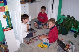 Patch, Carter and Nathan playing Yu-Gi-Oh