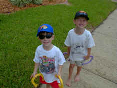 Showing off their new Hot Wheels hats