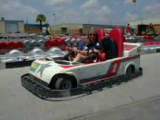 Susan and Patch racing go carts
