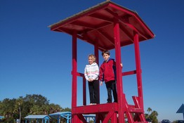 Ashley and Patch in the old lifeguard tower
