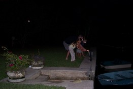 Heather and Alex got to light two fireworks at the same time (with help from their uncles)