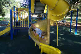 The wrong way to go down a slide!