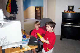 Alex teaching Andrew on Monster Truck Madness