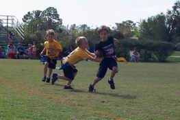 Getting his flag pulled (being tackled in flag football)
