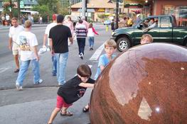 Spinning the floating ball outside Ripley's Believe It Or Not in Gatlinburg