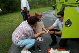 How fortunate the Fire Department was there to fix up Alex's cut finger!