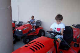 """Riding"" the lawnmowers at Home Depot"